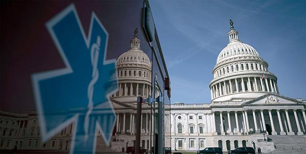 An image of the Capitol building is reflected in the surface of an ambulance.
